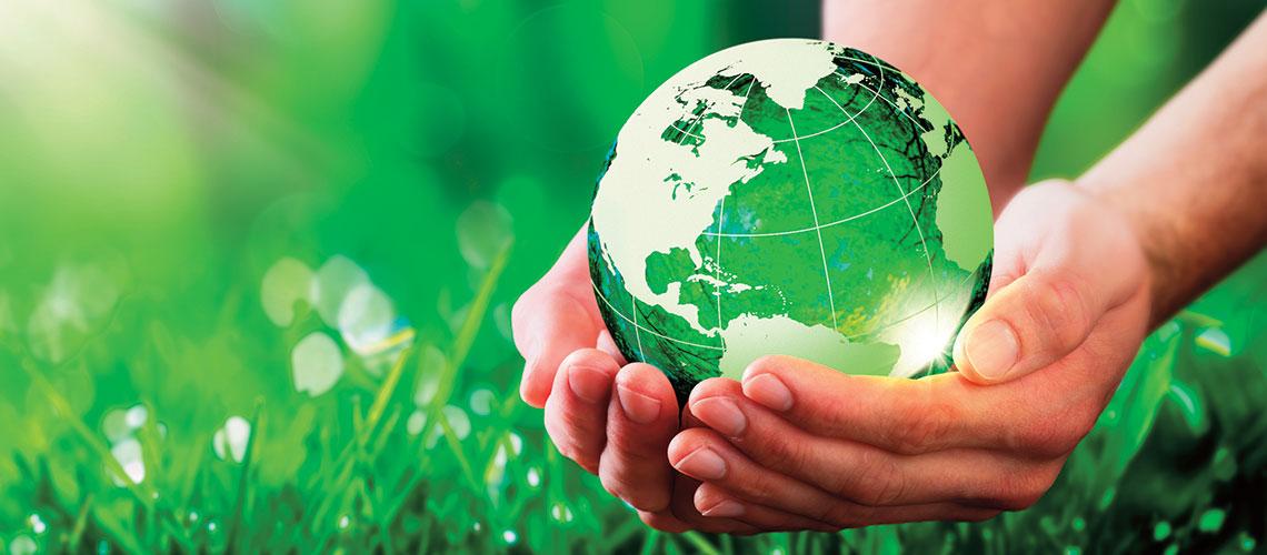 Hands holding globe above green grass